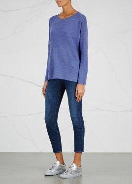 Cornflower blue merino wool jumper