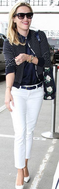 Reese Witherspoon: Sunglasses – Celine  Jacket, shirt, belt, and purse – Draper James  Shoes – Saint Laurent