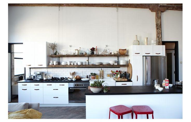 Kitchens Spaces, Kitchens Shelves, Chefs Kitchens, Poonam Khanna, Loft Kitchens, Vintage Wood, Subway Tile, Open Kitchens, Stainless Steel