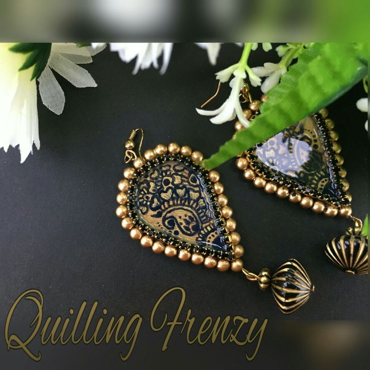 Black and gold paper base earrings made to match the customer's dress..   #quillingfrenzy #paperquilling #paperbase #paper #grandeur #grand #earrings #hoops #paper #jewelry #gold #handpainted #handmade #ecofriendly #danglers #rhinestones #beads #pearls