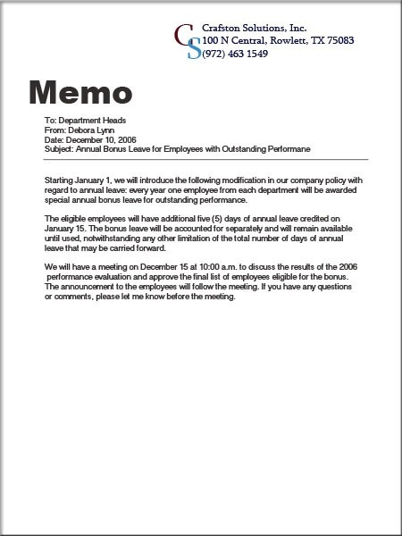 Pr Communication Memo Essay Format - image 10