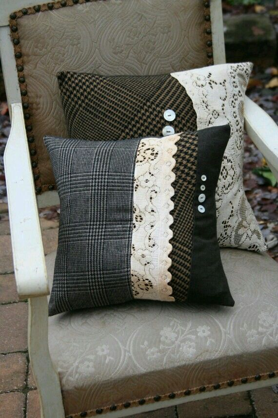 Pillows made from upcycled fabrics