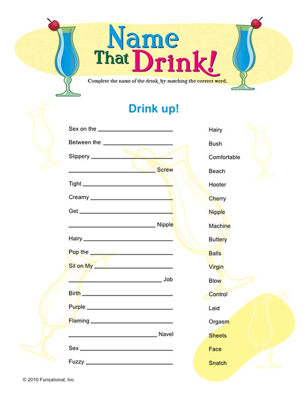 Name the Drink Bachelorette Party Game!  Thanks Jennifer--- Nicole, have you seen this?