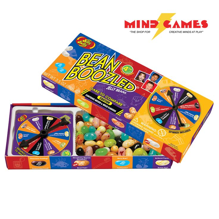 Bamboozle the kids, family, friends, or just about anyone, with the Jelly Belly BeanBoozled Gift Box that's a game and a candy all in one. Spin the wheel and gamble on what kind of flavour you'll get. If you happen to get a Booger-flavored bean instead of Juicy Pear, you've been BeanBoozled! Double and triple dare adventuresome players. Jelly Belly BeanBoozled jelly beans are a collection of 20 lookalike flavors, some so crazy you can't believe it, while others are the delicious Jelly Belly…