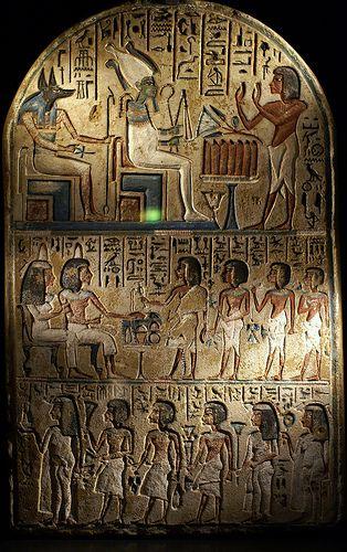 Stele des Nachy vor Osiris und Anubis (stele of Nakhy, facing Osiris and Anubis)