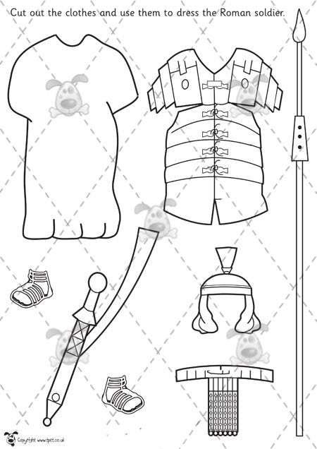 Teacher's Pet - Dress the Roman soldier (B+W) - Premium Printable Classroom Activities and Games - EYFS, KS1, KS2, ancient, rome, roman, bri...