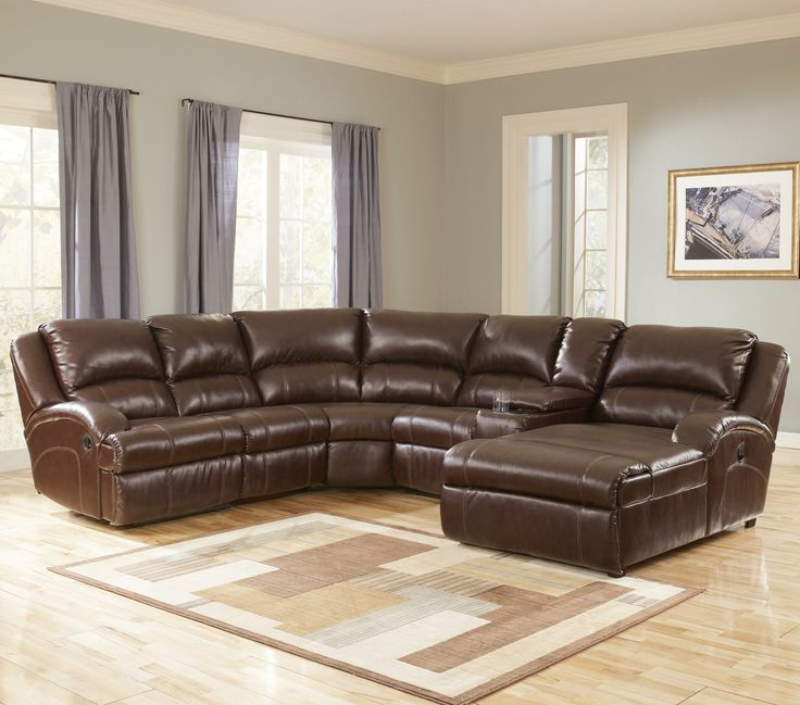 Durablend Harness Leather Sectional With Recliner And