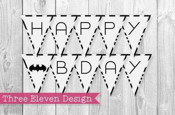 Batman PRINTABLE Birthday Banner by ThreeElevenDesign on Etsy
