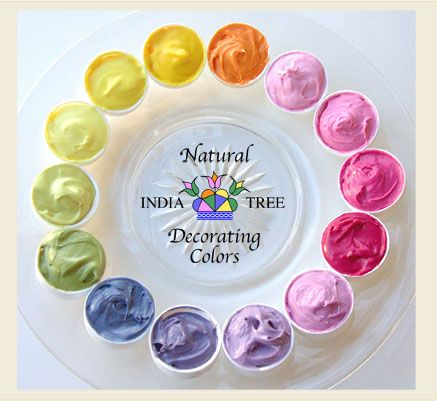 India Tree sells all natural Food Coloring, made without petroleum dyes.