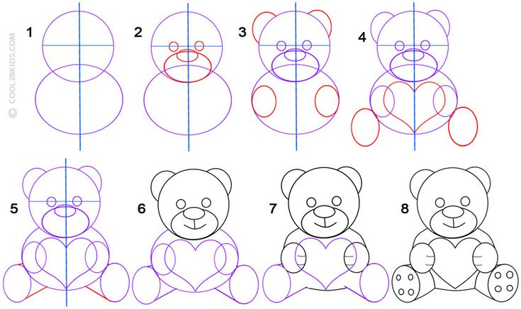 how to draw a love teddy bear step by step