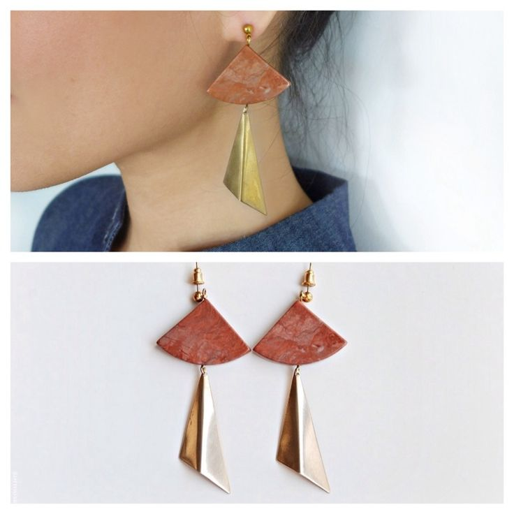 Red marble earrings with gold plated brass