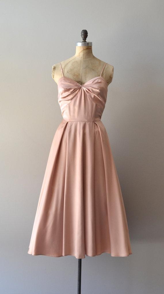 1950s blush satin dress