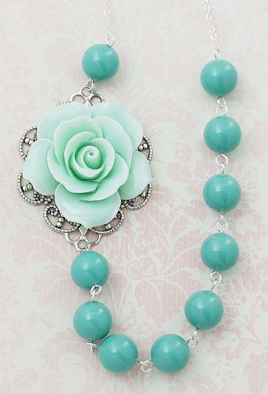 Mint Rose with Jade Green Pearls Bridal Necklace b