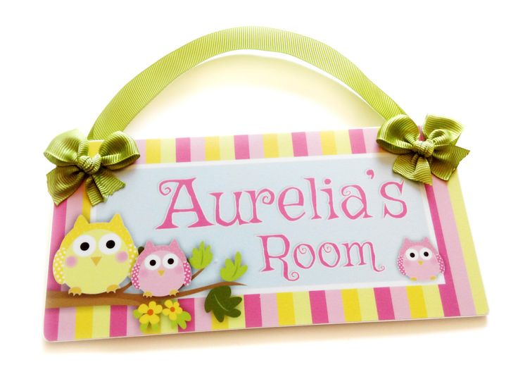 owl door sign sweet yellow and pink owls door sign  by kasefazem