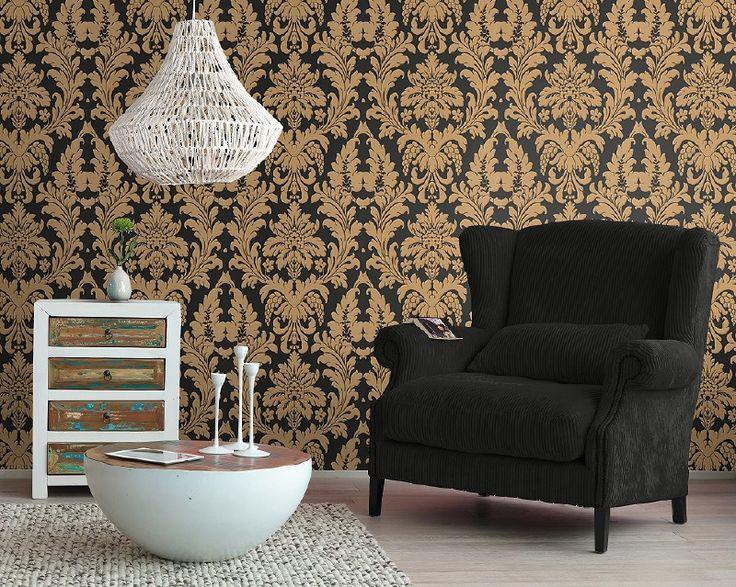barok behang zwart goud rasch tapete xx97
