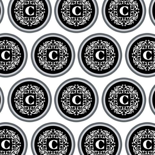 letter c initial black white scrolls premium gift wrap wrapping rh in pinterest com