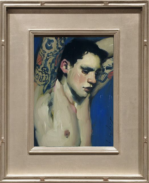malcolm liepke man with tattoo 2013 12 x 9 in oil on