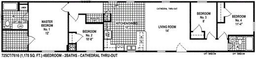 This single wide mobile home floor plan features 4 bedrooms and has 1,178 square feet. This is rare for a single wide to have 4 bedrooms, but this model makes very good use of all the space.It also has a huge walk in closet int the master bedroom.