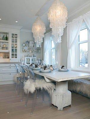 Capiz shell chandeliers, built ins, acrylic chairs & fur throw...