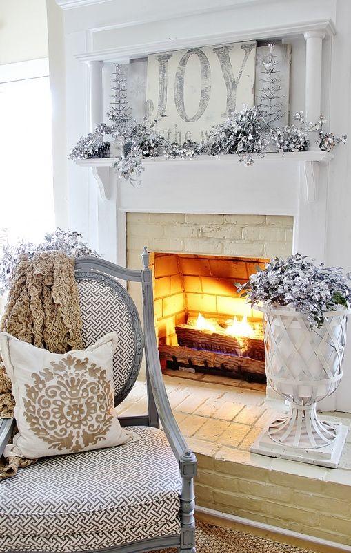 Joy to the World Christmas Mantel: Christmasdecor, Decor Ideas, Silver Christmas, White Christmas, Christmas Ideas, Christmas Trees, Christmas Mantles, Blue Christmas Decor, Christmas Mantels