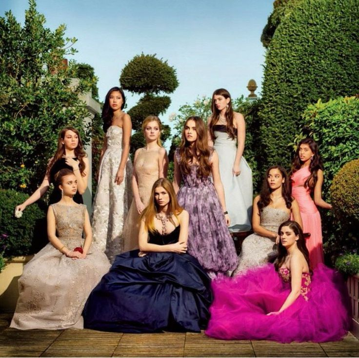 Le Bal des Debutantes 2013 - includes on the bottom far left, Lady Amelia Windsor, and top far right in grey gown with black band, Kyra Lemoyne Kennedy, daughter of Robert F. Kennedy Jr.