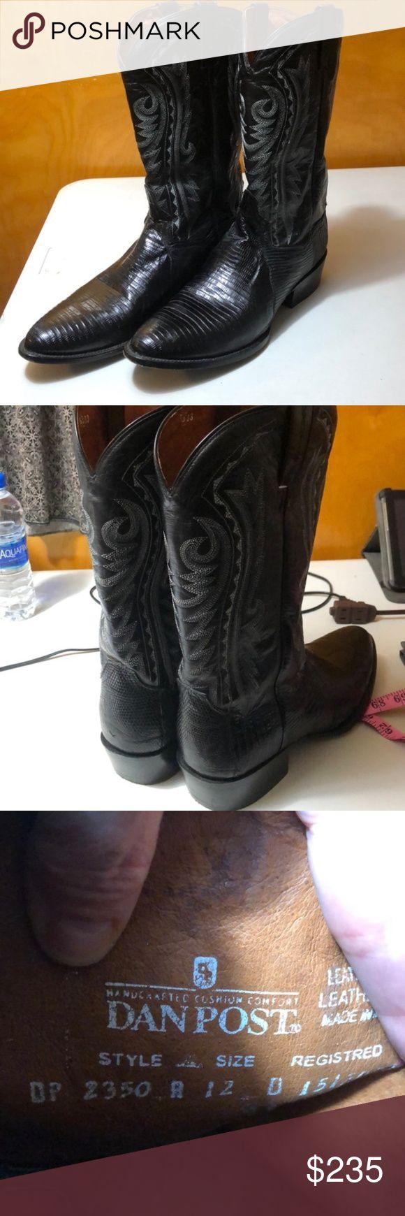 Botas de couro preto Dan Post   12 EUC Botas de cowboy de couro Dan Post …