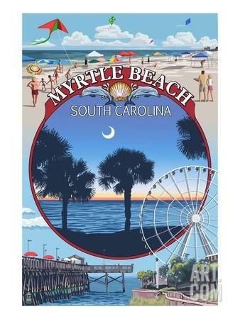 Myrtle Beach, South Carolina - Montage Art Print by Lantern Press at Art.com