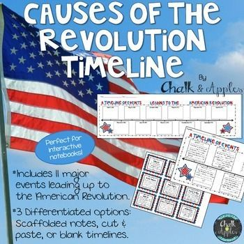 Differentiated Causes of the American Revolution Timeline - great visual reference for students, perfect for interactive notebooks! 3 differentiation options: scaffolded notes, dated timeline for students to write in the events, and blank timelines with event cards to cut & glue.