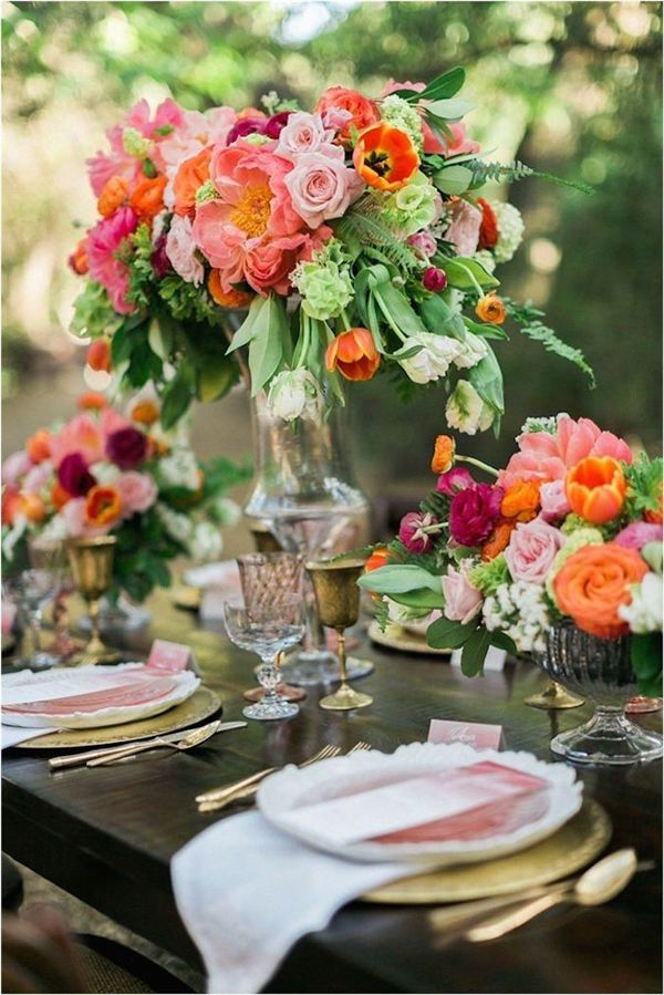 tall wedding centerpiece idea for an outdoor wedding reception - Deer Pearl Flowers