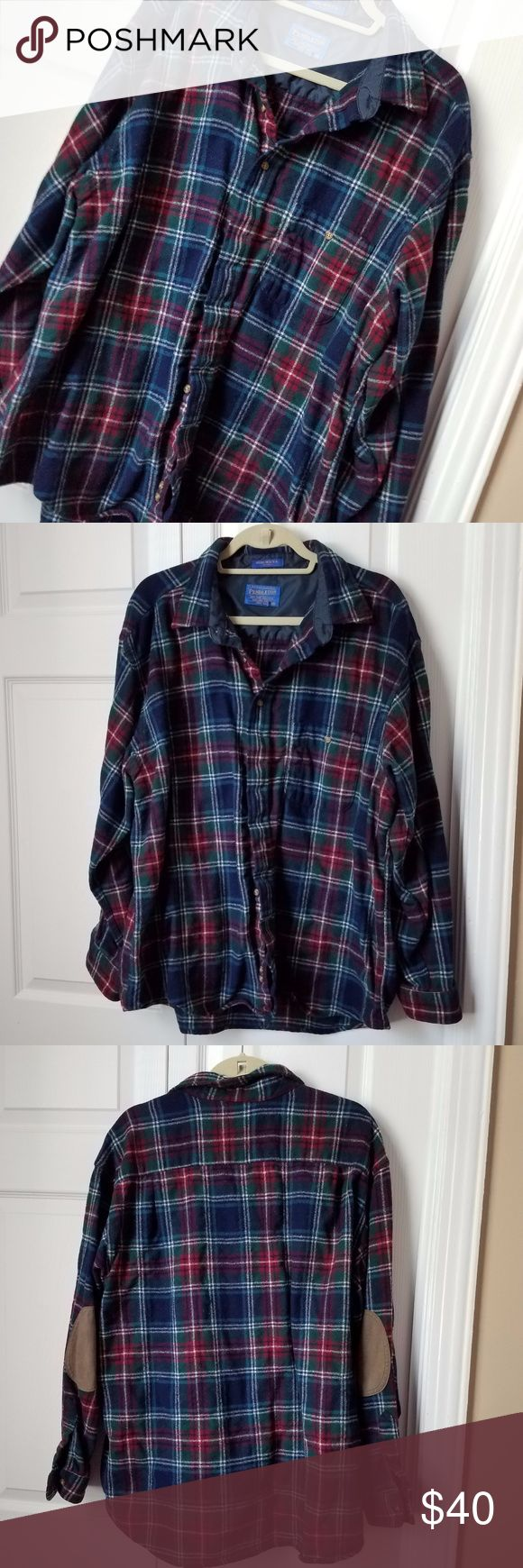 Pendleton Men's 100% Wool Shirt Pendleton heavy button down shirt made in Portland, Oregon. Has elbow patches & 1 front pocket at chest with button closure Shell: 100% pure virgin wool Lining: 100% nylon Trim: 60% nylon, 40% spandex navy blue, green, red & white plaid Pendleton tag is slightly ripped Normal wash wear Measurements in photos Pendleton Shirts Casual Button Down Shirts