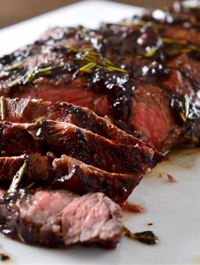 Grilled Balsamic and Rosemary Flat Iron Steak Recipe - tried this for the family, huge hit!!! Super easy, next time I'll probably buy pre-minced garlic and dried rosemary due to time, but SOOOOOO good!