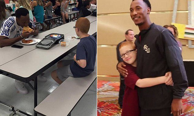 FSU football player who ate lunch with autistic boy reunite