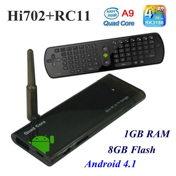 RC11 Fly Air Mouse+CX 919 Quad Core Android TV Box Mini PC RK3188 1.65 GHz Quad Core ARM Cortex A9 XBMC External Wifi Antenna-in Set-top Box...