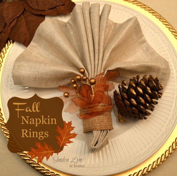 Gorgeous fall napkin rings - a beautiful DIY idea for your Thanksgiving table or an autumn dinner party