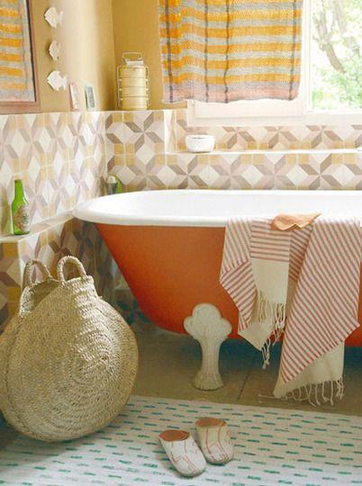 orange claw bathtub.