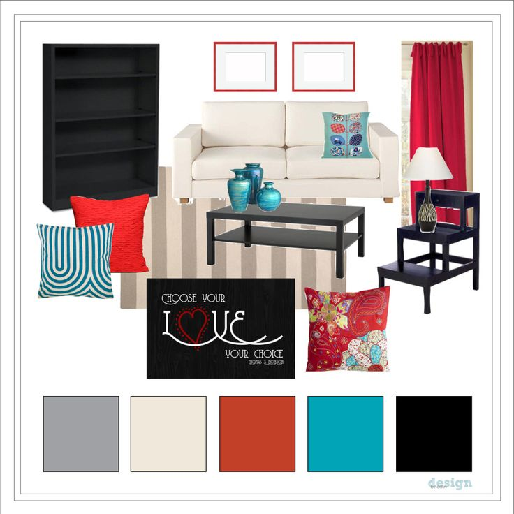 Living Room // Red, Black, Cream, Gray, And Teal.