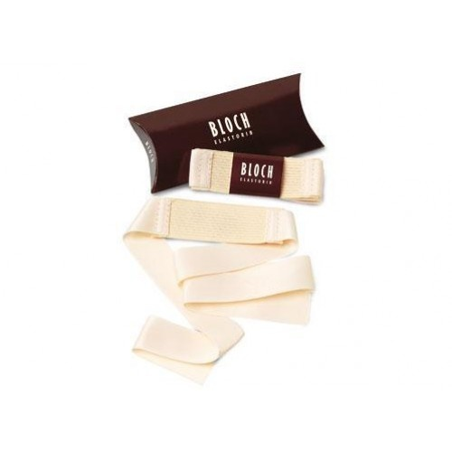 Bloch Elastorib  Developed by Bloch to assist in the reduction of strain on the Achille tendon.  Soft elastic sewn to ribbon to avoid fraying. Ribbon length is adjustable to fit the individual.  Price: 8.20€