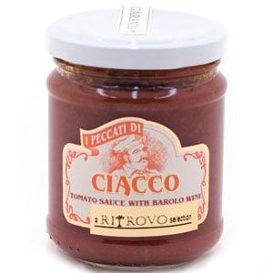 Rich, ripe tomatoes are blended with the spicy accent of Barolo wine. Imported from Italy by Ritrovo Italian Regional Foods.     Size: 6.3 oz. jar.     Ingredients: Tomato pulp, onions, carrots, celery, red wine (Barolo DOCG), extra virgin olive oil, herbs, salt.     I Peccati di Ciacco is located in the village of Moneu Roero, in the Piedmont region of Italy. Perfect size for two portions. The area is world-famous for its wine and it's black and white truffles.