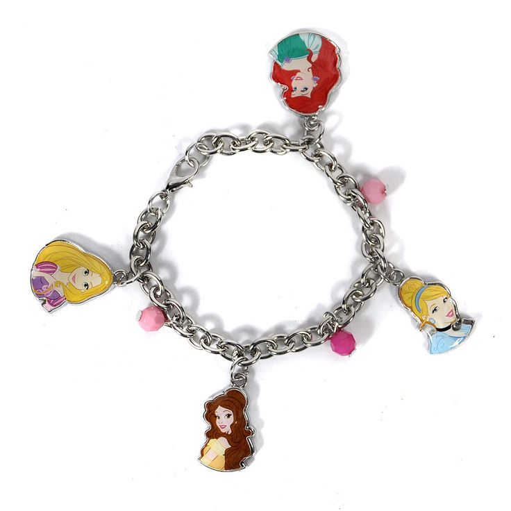 Disney Princesses Girls Charm Bracelet Cinderella Ariel Rapunzel Belle