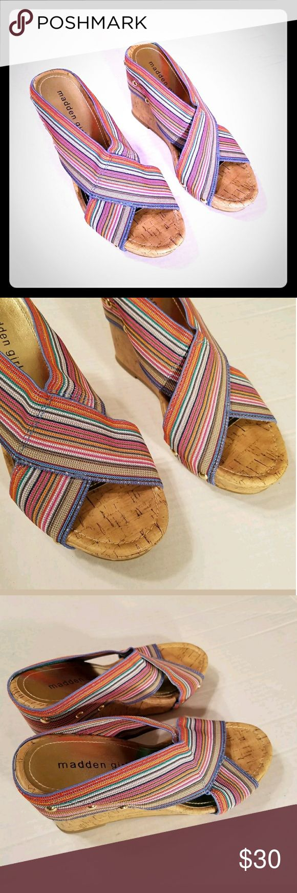 "Sz 7.5M Madden Girl Nautic Cork Platform Wedges Madden Girl Wedge Heels Nautic Cork Multi-Color Criss Cross Stretchy Straps 7M/ 8M  Style Nautic, gold studs, super cute!  NO Size tag, they measure an 7-8M (9.5"" insole)  Heel is 4"" high, platform is 1""  See all pics for details Madden Girl Shoes Wedges"