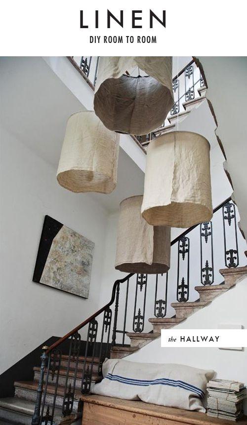 DIY Linen lampshades
