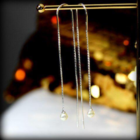 Thread chain in earrings in silver with saltwater pearls  www.stopandwearjewelry.com