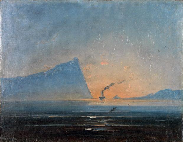 Peder Balke - Kystlandskap med dampskip (1848)