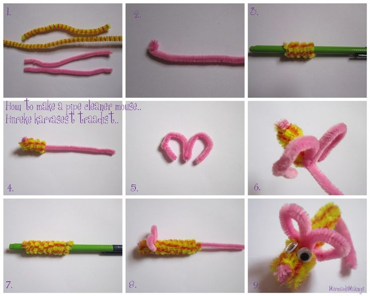 Do you scream when you see a mouse? You definitely won`t seeing these lil cuties.. Here is how I made them (inspiration from Mister Maker). You need one pink pipe cleaner (cut in half), one long ye…