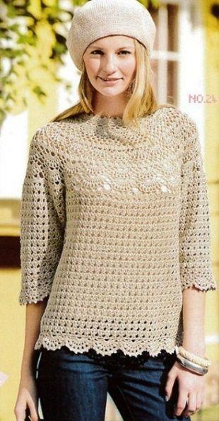 Пуловер с круглой кокеткой Очень женственный и романтичный пуловер с круглой кокеткой связан крючком. Пуловер вяжется в направлении сверху вниз, начиная с ажурной кокетки.