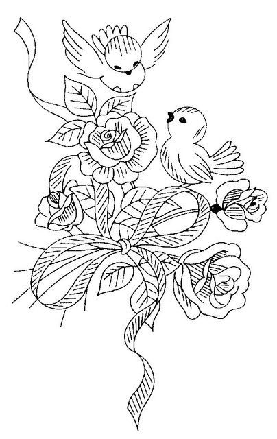 Line Drawing Embroidery : Love bird bouquet embroidery pattern coloring