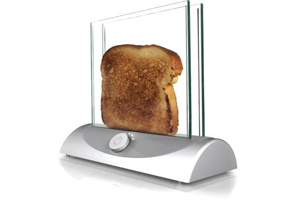 Cool Kitchen Gadgets.  Cool transparent glass toaster is just what you need for a high-tech style kitchen. It's not only stylish and futuristic but it also allows you to see and control the level of toasting. If you are a sci-fi fan then a Star Wars toaster will burn Darth Vayder's face on your bread. The space invader cutting-board will express your preferences and taste.