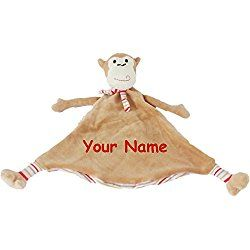 Personalized Cubbies Pastel Monkey Snuggle Buddy Baby Blanky Blanket - 12 Inches Wide