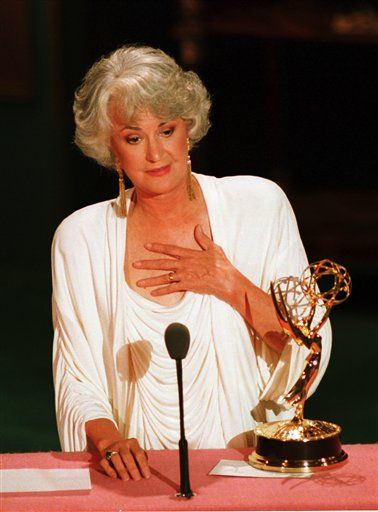 "Bea Arthur, accepting her Emmy for ""The Golden Girls""."