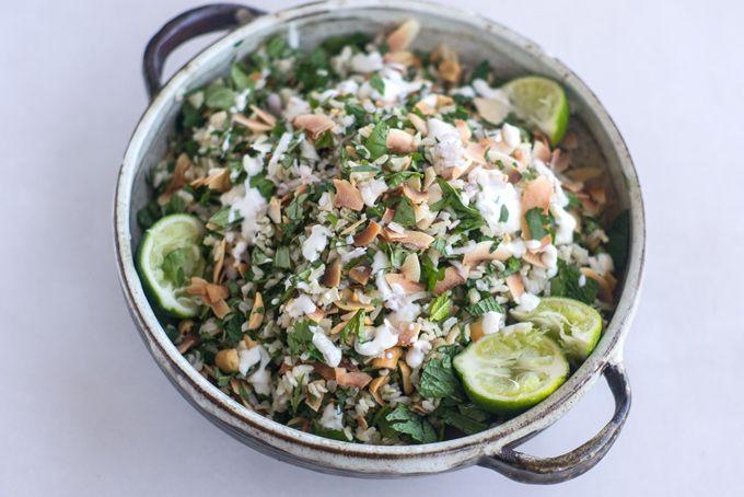 HERBAL RICE SALAD WITH PEANUTS (coconut, mint, basil, cilantro, shallot, yogurt)